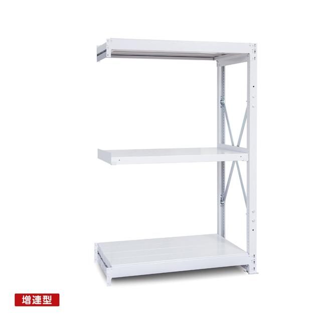 1000kg/段 重量スチール棚 増連型 高さ1800 x 棚板3枚(有効2段)