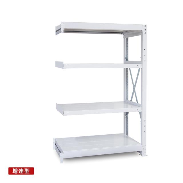 1000kg/段 重量スチール棚 増連型 高さ2100 x 棚板4枚(有効3段)
