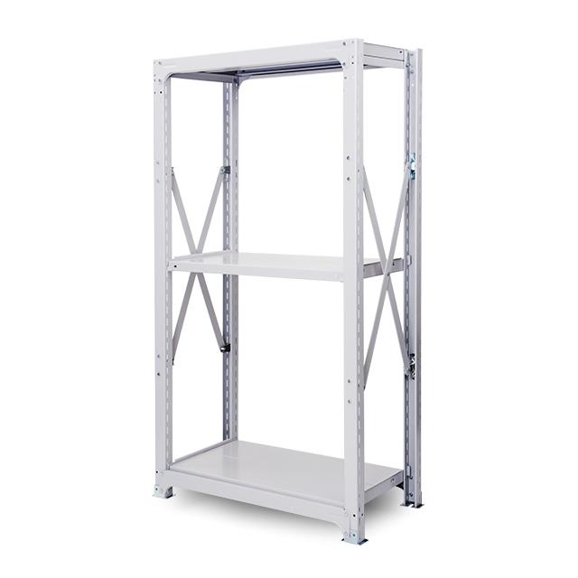 500kg/段 中重量ボルト式棚 高さ2400 x 棚板3枚(有効2段)