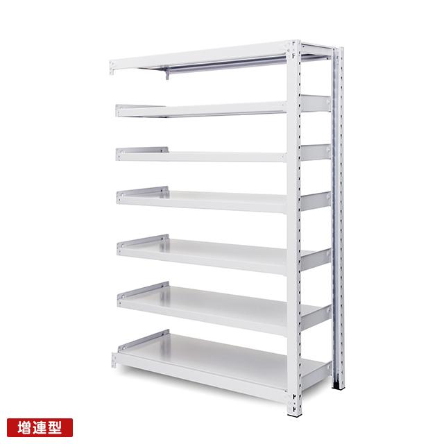 300kg/段 中量ボルトレス棚 増連型 高さ1500 x 棚板7枚(有効6段)