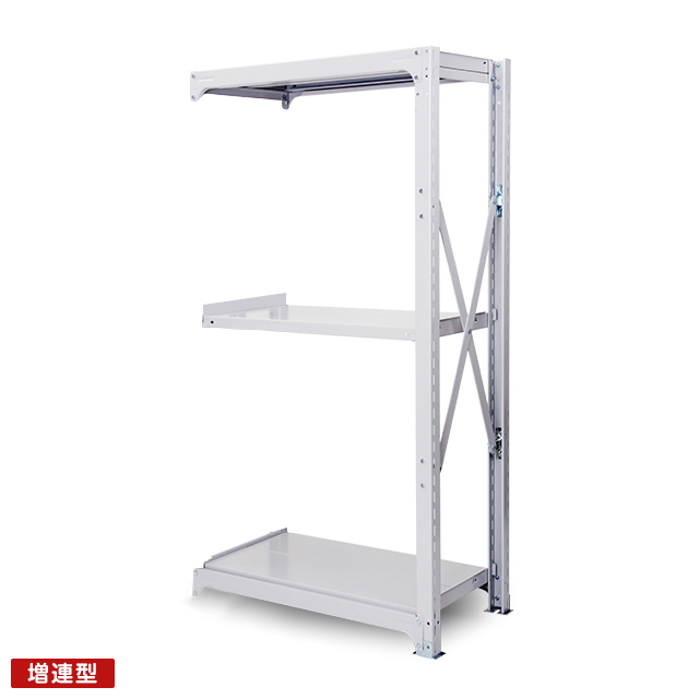 300kg/段 中量ボルト式棚 増連型 高さ1500 x 棚板3枚(有効2段)